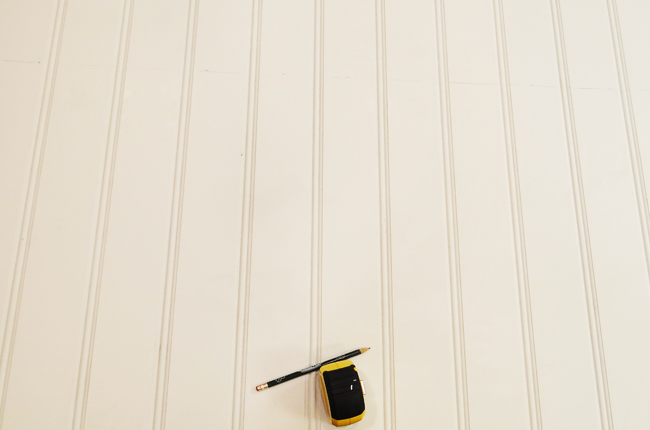DIY Beadboard Ceiling Measure and Cut