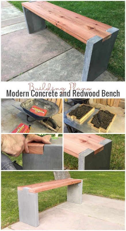 How to build a modern DIY concrete bench with redwood bench top for outdoor seating #Remodelaholic