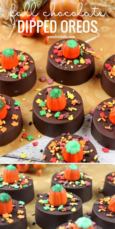 The perfect fall or halloween treat! Fall chocolate dipped oreos via Remodelaholic.com