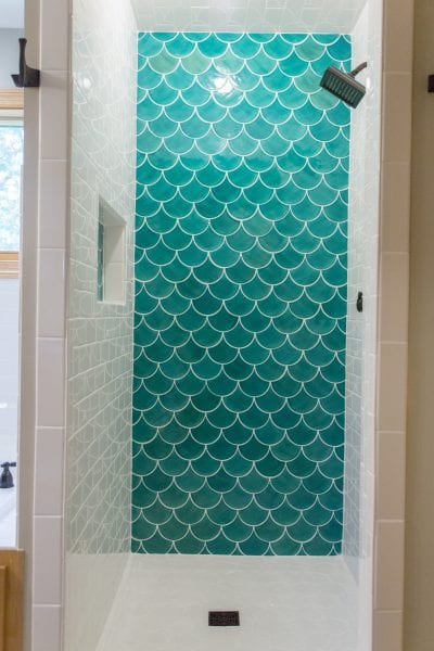 tile a shower with moroccan fish scale tile