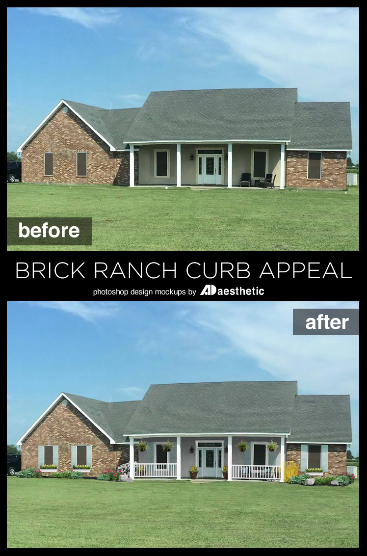"Many new homes suffer from ""blank slate"" curb appeal. See how Dawn transformed (virtually!) this reader's home withs some simple curb appeal updates for this brick ranch • AD Aesthetic for Remodelaholic"