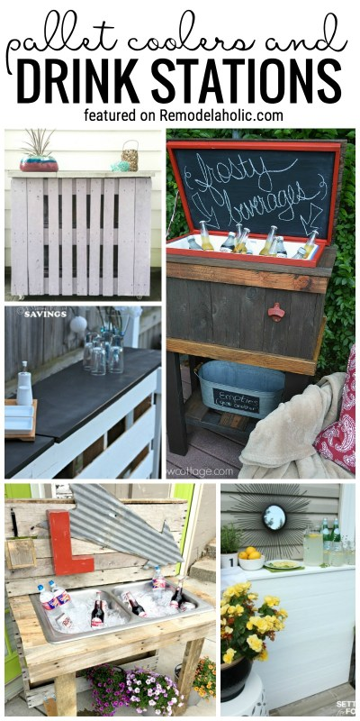 Pallets are a great way to start a project for your yard or garden! Try one of these outdoor pallet projects, like these smart pallet coolers and drink stations. Featured on Remodelaholic.com
