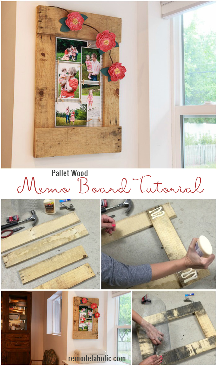 Super easy pallet memo board -- perfect for when you want a rustic touch to your decor but don't have a lot of time, tools, or DIY know-how (yet!). See more at Remodelaholic.com