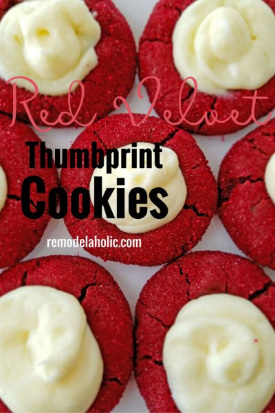 Red Velvet Thumbprint Cookies with Cream Cheese Filling are to die for! Perfect for Christmas, Valentine's Day or a romantic night. Recipe at Remodelaholic.com