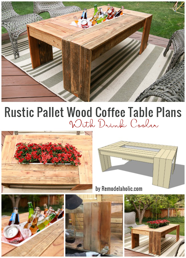 Build this rustic pallet wood coffee table for your patio -- the built-in drink cooler and waterfall style edges are fabulous! Free tutorial, plans, and video at Remodelaholic.com