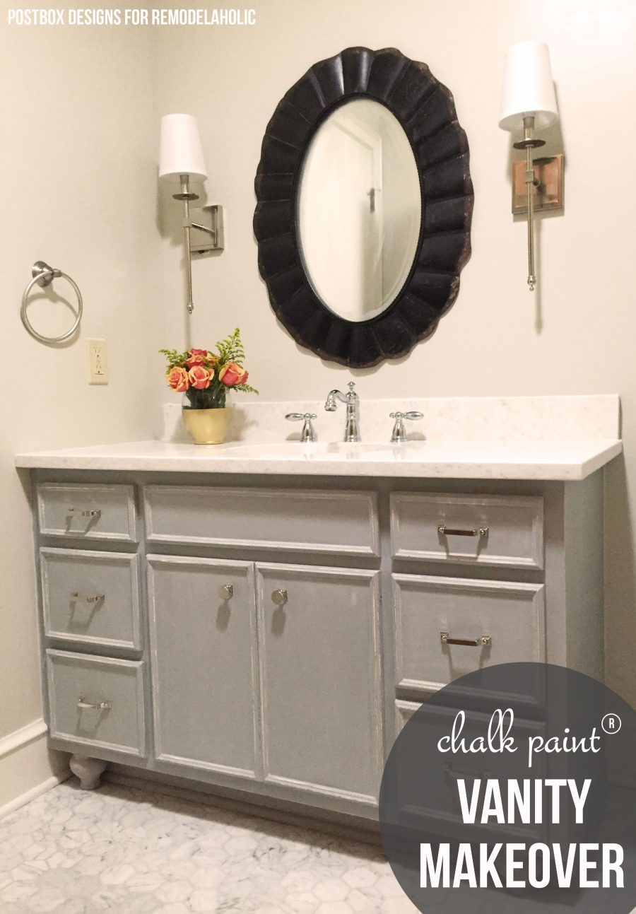 Beautiful! Bath makeover using Chalk Paint® to update a vanity @remodelaholic