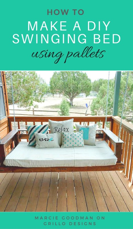 Swinging Day Bed with pallets and 15 awesome pallet furniture ideas featured on remodelaholic.com