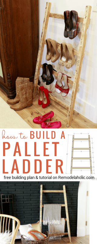 Turn an old shipping pallet into a stylish and easy pallet blanket ladder with this easy tutorial. Great storage for quilts or heeled shoes. Full tutorial and building plan free on Remodelaholic.com