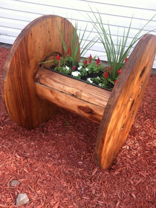 large-wood-cable-spool-turned-planter-original-source-unknown