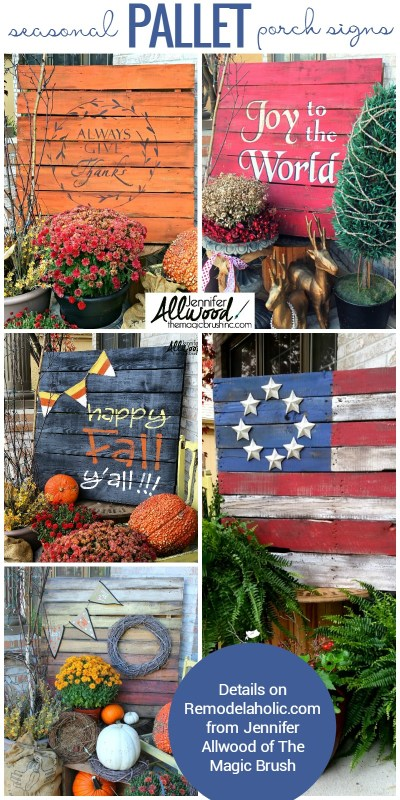 Easy DIY seasonal painted pallet porch signs | Make a big impact in your porch decor without spending a lot of time or money.