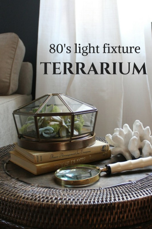 turn a light fixture into a terrarium, Honey N Hydrangea