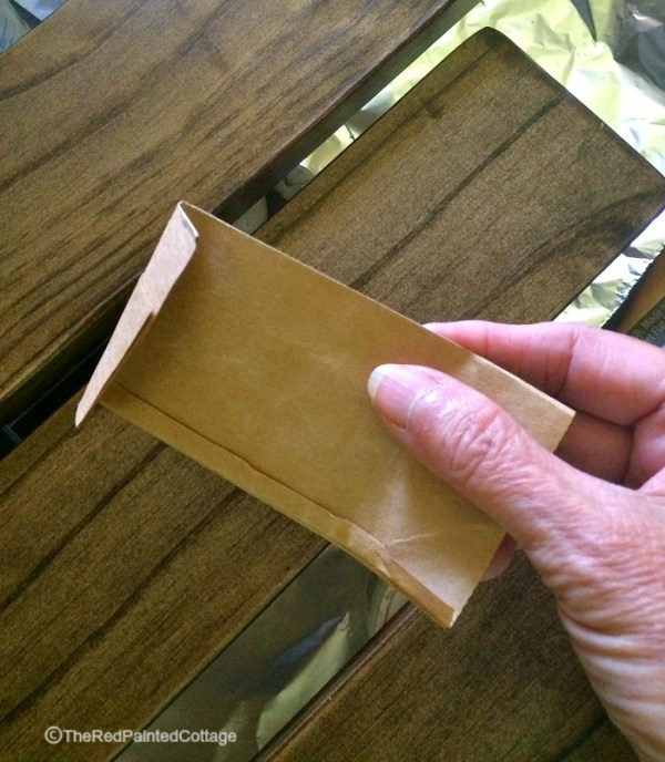 use a brown paper bag to get a super smooth furniture finish, The Red Painted Cottage