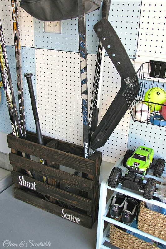 use-an-old-pallet-to-organize-sports-gear-in-the-garage-clean-and-scentsible