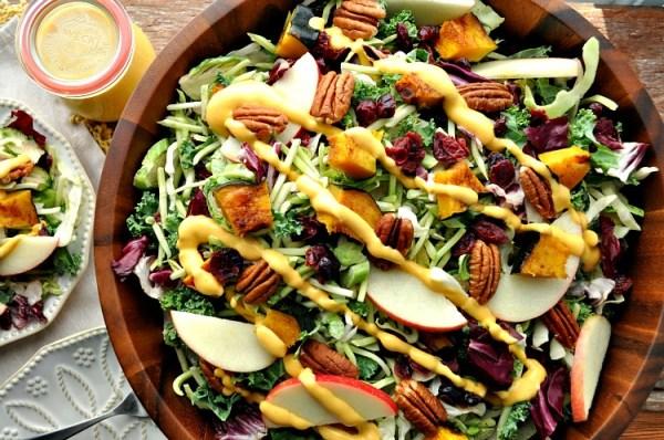 Fall Harvest Salad With Pumpkin Goddess Dressing The Seasoned Mom