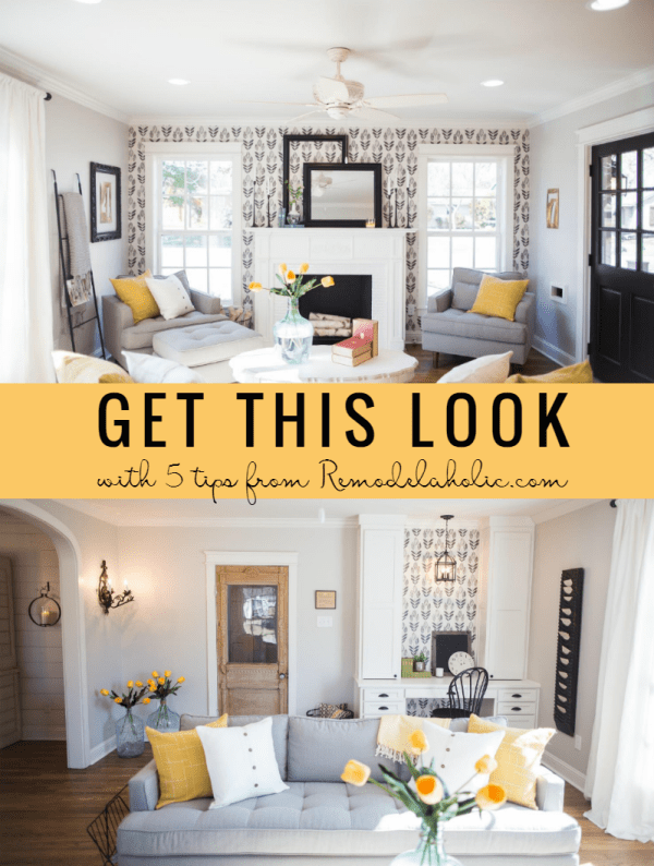 get this look contemporary farmhouse living room fixer upper chicken house remodelaholic cro get this look modern - Modern Farmhouse Living Room