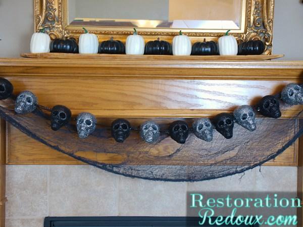 Glittered Skull Garland Restoration Redoux