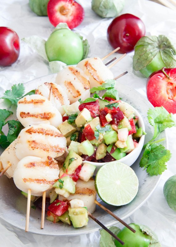 grilled scallops with tomatillo plum salsa