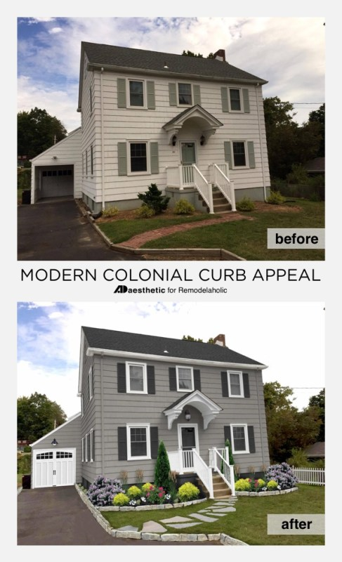 Modern Colonial Curb Appeal Mockup • AD Aesthetic for Remodelaholic