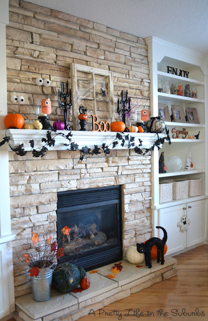 spooky and cute halloween mantel