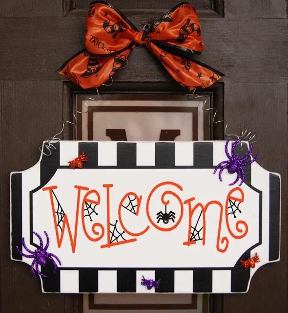 Halloween Spider Welcome Sign