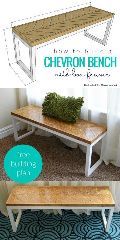 Remodelaholic DIY Wood Chevron Bench With Box Frame