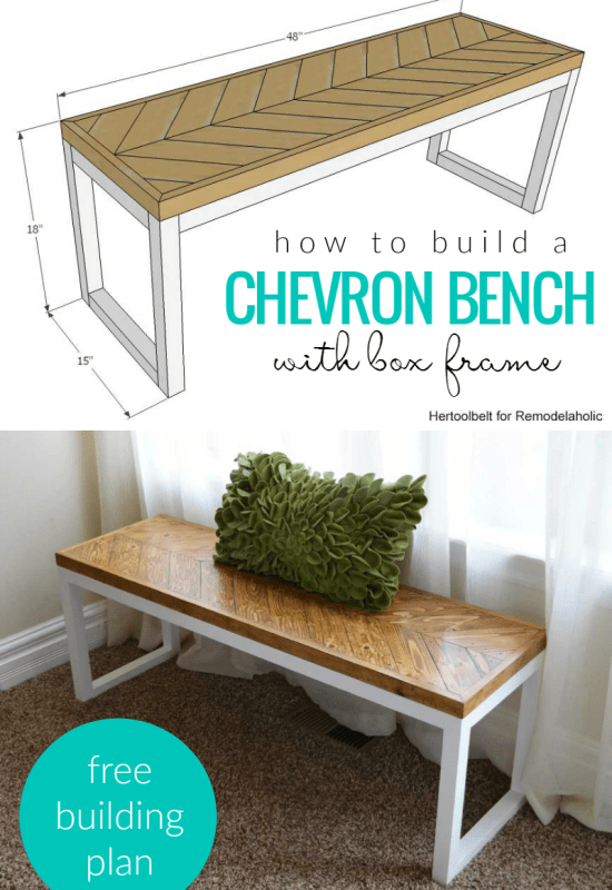 How To Build A Chevron Bench With Box Frame @Remodelaholic Cro