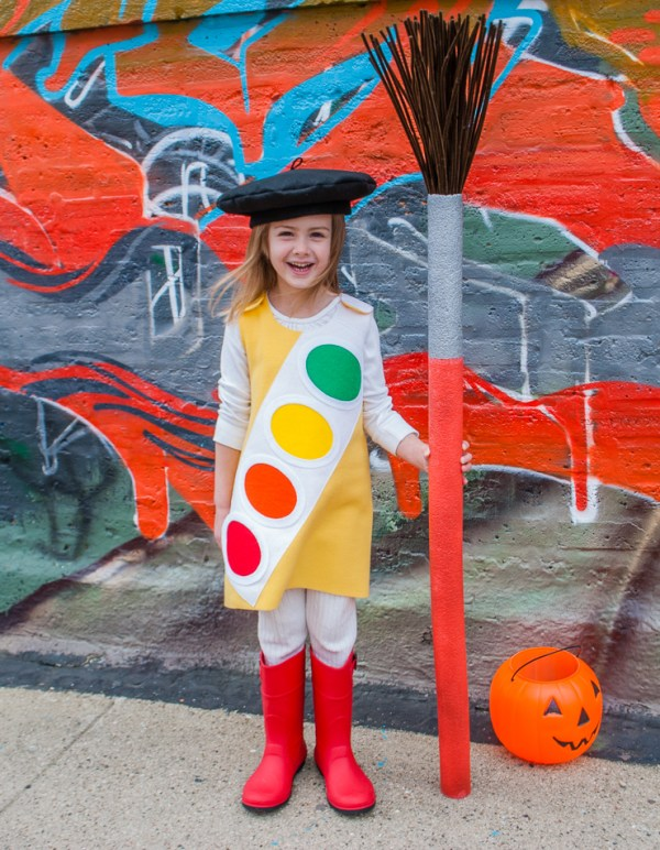 Kids Halloween Costume Watercolor Paint Box With French Beret And Giant Paint Brush For Little Artists
