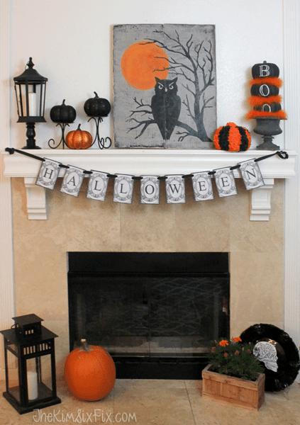Orange and Black Halloween Mantel