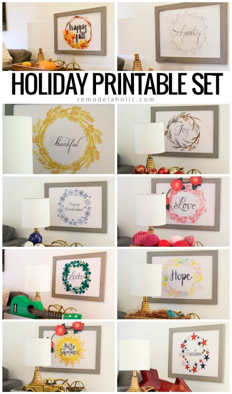 Seasonal Holiday Printable Set Of 10 Art Prints For Easy Home Decor All Year, Instant Download #remodelaholic