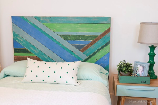 Wood Pieced Headboard Painted With Annie Sloan Chalk Paint @remodelaholic 9846