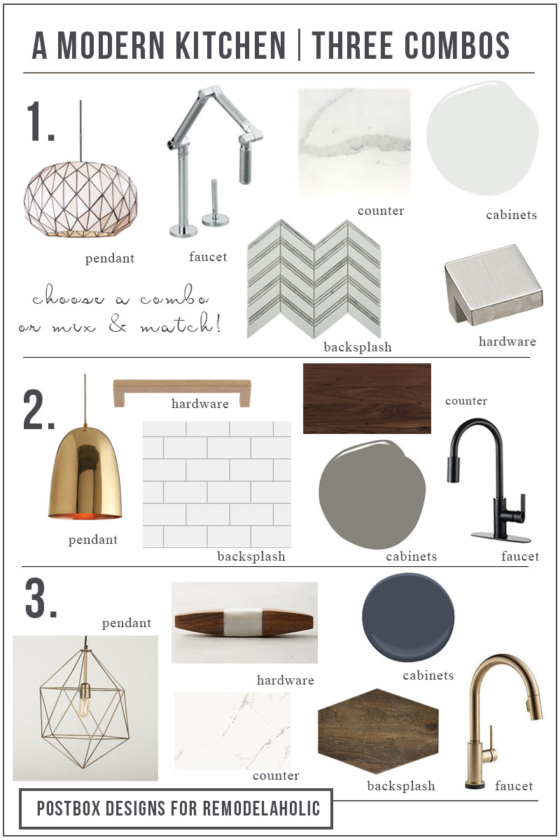 3 Combos Modern Kitchen Vert Mood Board