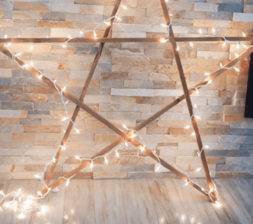 DIY Large Rustic Wood Star with Lights For Under $5!