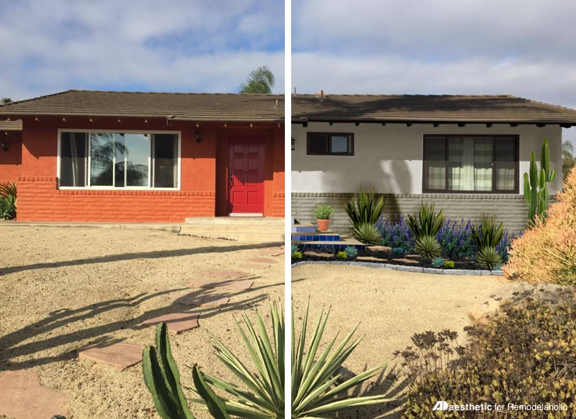 """Southwestern stucco doesn't have to be """"adobe orange"""" -- get some neutral desert curb appeal inspiration and ideas with this beautiful virtual makeover by AD Aesthetic on Remodelaholic.com"""