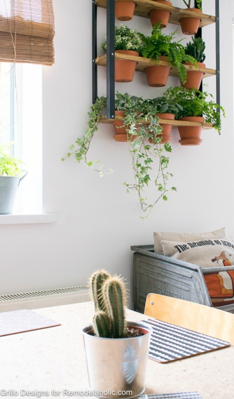 Industrial Wall Planter In Didning Room