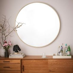 Modern Coastal Bedroom Round Mirror