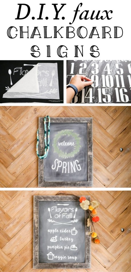 Love these faux chalkboard signs! They are perfect for anyone who struggles with hand lettering, plus easy to store and reuse next year.