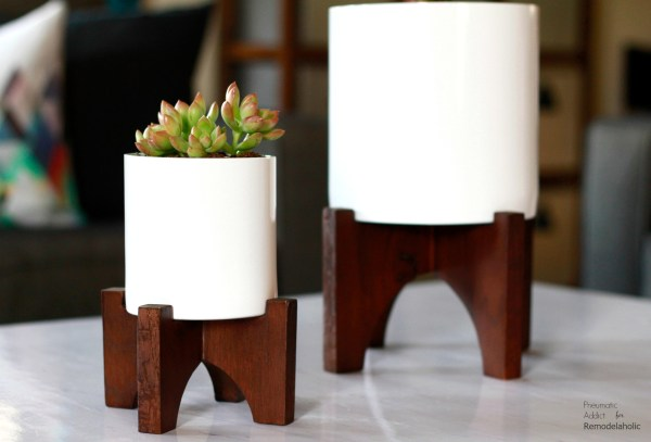 White Wood West Elm Flower Pot Knockoff Wm