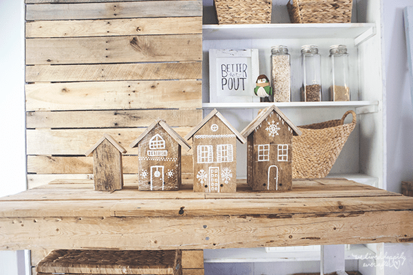 11 Pallet Wood Gingerbread Houses, Reclaimed Wood Gingerbread Houses, By We Lived Happily Ever After Featured On @Remodelaholic