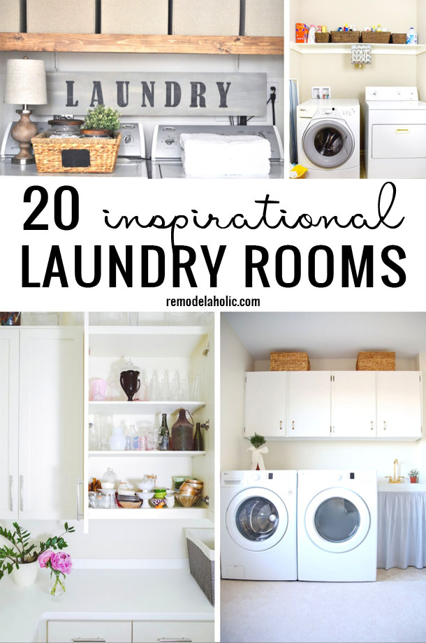 Change up your laundry room with one of these great 20 inspirational laundry rooms featured on remodelaholic.com. Find just what you need to update your home.