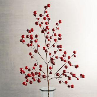 Red Glitter Berry Spray