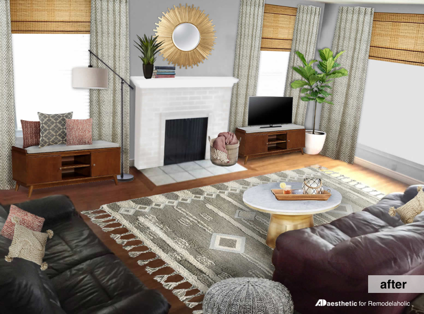 Remodelaholic | Real Life Rooms: Neutral Living Room with a Burgundy ...