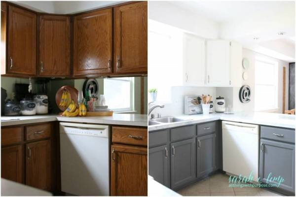 After And Before White Farmhouse Kitchen Renovation, All Things With Purpose Featured On @remodelaholic
