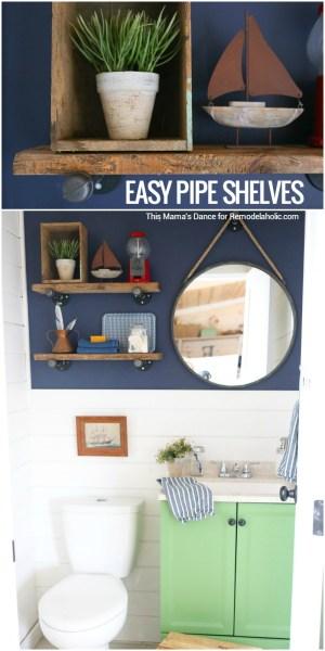 Diy Industrial Reclaimed Wood And Pipe Shelves Remodelaholic
