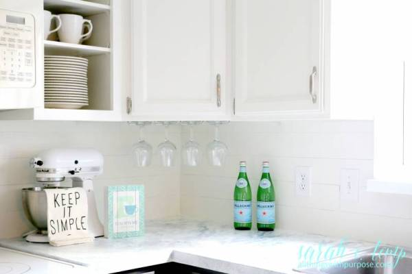 Diy Shiplap Backsplash Using Peel And Stick Vinyl Tiles, All Things With Purpose Featured On @remodelaholic