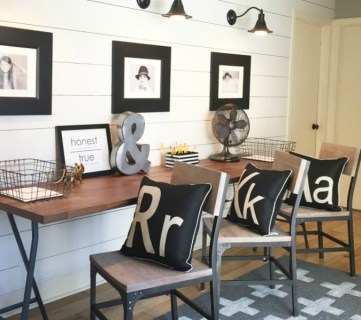 Feat Postbox Designs, Industrial Farmhouse Style Homework Station