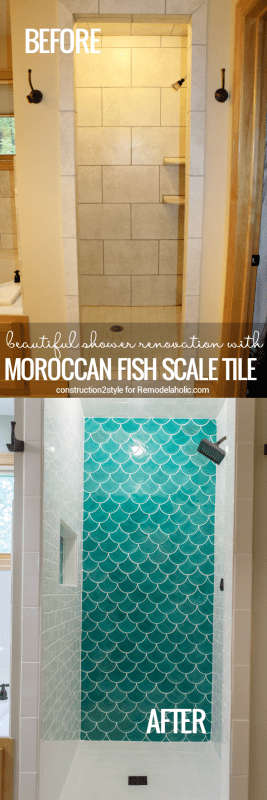 Moroccan Fish Scale Tile Shower Renovation @Remodelaholic