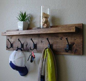 Rustic Coat Rack With Floating Shelf, Keodecor On Etsy