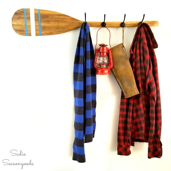 10 Vintage Feather Brand Oar Paddle With Stenciled Stripes Repurposed Upcycled Into DIY Coat Hook Rack By Sadie Seasongoods