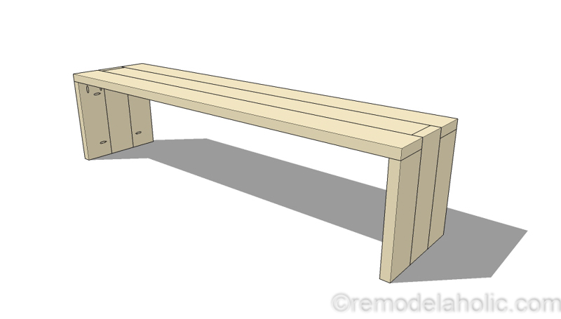 DIY 2x6 Bench | Modern Waterfall Bench Tutorial | Entryway Bench | Bench Building Plans