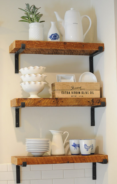 Open Shelves Made From Repurposed Wood In Kitchen Remodel, By SoPo Cottage Featured On @Remodelaholic